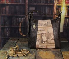 Book Bag with Mark Twain Screen Print/Brown Shoulder Bag/Literature Bag with gemstones and Embossed Faux Leather -- Cafe Reader Leather Bags, Brown Leather, Still Life Artists, Pull Chain, Mark Twain, Riveting, Victorian Gothic, Paisley Print, Screen Printing