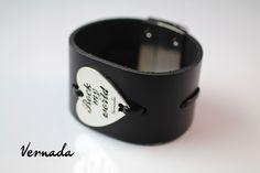 Vernada Design -nahkaranneke, ROCK MY WORLD, musta, 40mm/black leather bracelet