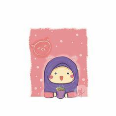 Anime Muslim, Muslim Hijab, Cartoon Kids, Cute Cartoon, Muslim Pictures, Hijab Cartoon, Islamic Girl, Cartoon Quotes, Kawaii Illustration