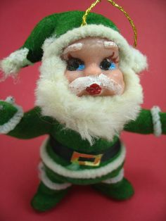 Flocked Santa Ornament Vintage Christmas Decoration by VeesVintage, $5.00