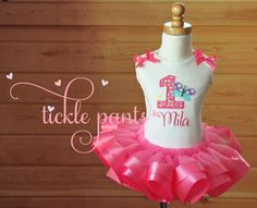 Butterfly Birthday Tutu Outfit- Bubblegum pink- Includes embroidered top and ruffled tutu-  Can be made to match your party by TicklePants on Etsy https://www.etsy.com/listing/198044723/butterfly-birthday-tutu-outfit-bubblegum