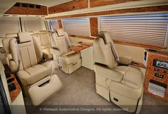 Midwest Automotive Designs specializes in designing and building luxury custom Mercedes-Benz Sprinter van conversions. Benz Sprinter, Mercedes Sprinter, 15 Passenger Van, Car Interior Upholstery, Design Autos, Luxury Van, Van Interior, Luxury Camping, Custom Vans