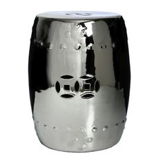 @Overstock - Accent your garden or patio with a chrome-finished porcelain garden stool. This handmade stool can function as an extra seat, foot rest, small table, plant stand, cocktail table and more.http://www.overstock.com/Worldstock-Fair-Trade/Chrome-Porcelain-Stool-China/3884932/product.html?CID=214117 $109.99