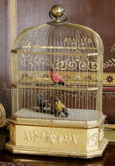 I have look at a very large antique bird cage with mechanical singing birds. Antique Booth Displays, Antique Bird Cages, The Caged Bird Sings, Decorative Bird Houses, Bird Boxes, Ceramic Birds, Bird Pictures, French Country Style, Wire Baskets