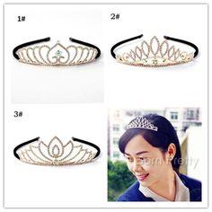 1 Pc Stylish Rhinestone Headband Gold Crown Pattern Headband Hair Band Jewelry