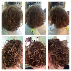 Before & After Deva Curl Cut with Subtle Highlights & Deva 3 Step Style Natural Wavy Hair, Curly Hair Tips, Short Curly Hair, Short Hair Cuts, Curly Hair Styles, Curly Girl, Short Permed Hair Before And After, Perms Before And After, Deva Curl Cut