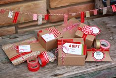 Combining colorful holiday-inspired washi tape from Cute Tape, plain kraft boxes and bags, simple glass ornaments and twine to create something really special.