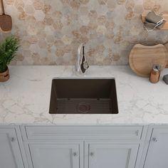 Shop Lexicon Platinum Quartz Composite Kitchen Sink with Large Single Bowl - On Sale - Overstock - 11606951 - Onyx Composite Kitchen Sinks, Composite Sinks, Rustic Country Kitchens, Country Kitchen Designs, Brown Granite Countertops, Kitchen Countertops, Kitchen Backsplash, Undermount Sink Clips, Single Bowl Sink