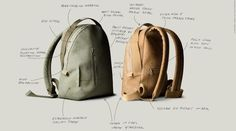 """A comfortable unisex Backpack with a number of creative design details. Handmade with extremely durable Italian suede and deep structured cotton herringbone webbing, finished with premiumhardware.  48 x 35 x 15 cm / 19"""" x 14"""" x 6"""" Colour: Light Olive Green Two external zip pockets Internal zip pocket Internal padded 15"""" laptop pocket Adjustable shoulder straps To fix strap length: casually tie knots in the ends External grab handles Part of theVOLUME ONE Collection  Extremely ..."""