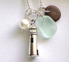 Sea Glass Jewelry Oregon Coast Seaglass Necklace Coastal  Beach PebbleGarden Leaf Seaside