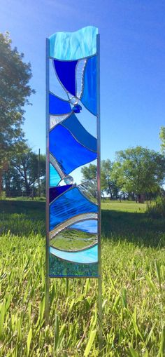 STAINED GLASS GARDEN Stake   Art Glass For Your Garden In Beautiful Blue By  Tristansartworks On