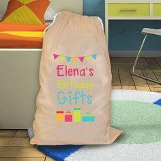 Personalised Birthday gifts presents bag sack - bunting design