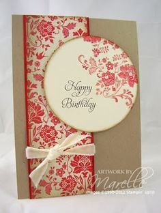 handmade birthday card .... kraft base with vanilla paper stamped in red ... luv the column of stamped paper tied with a ribbon ... circle focal point with sentiment and stamping off the edge ... simple design ... pretty card ... Stampin' Up!