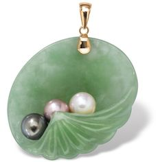 Palm Beach Jewelry PalmBeach Jade and Pearl Shell Pendant in 14k Gold... ($80) ❤ liked on Polyvore featuring jewelry, pendants, pendant, green, gold jewelry, 14k pendant, gold chain pendant, shell pendant and 14 karat gold pendants