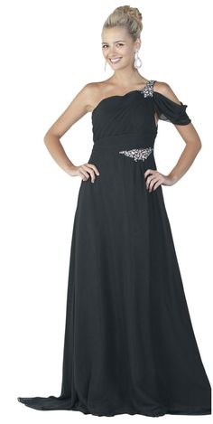 Black Full Length One Shoulder Formal Evening Gown (3colors S to 3XL)