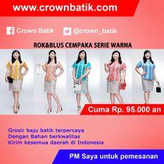 ROK DAN BLUS CEMPAKA SERI WARNA HARGA : Rp. 95.000 # CARA ORDER : Komen BOOKED difoto dan kirimkan rekap order via (pilih salah satu) : 1 : PIN BB 51E8B403 2 : LINE Crown Batik 3 : SMS VIA 085647678910 4 : INBOX Fanpage Crown Batik # FORMAT ORDER : NAMA - ALAMAT LENGKAP - NO.HP - ITEM ORDER  JOIN MEMBER: http://clicks.id/CBfree