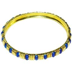 Preowned Classic Tiffany & Co. Gold And Blue Enamel Bangle Bracelet (13.830 BRL) ❤ liked on Polyvore featuring jewelry, bracelets, bangles, blue, gold jewelry, enamel bangle, gold jewellery, hinged bracelet and enamel bangle bracelet