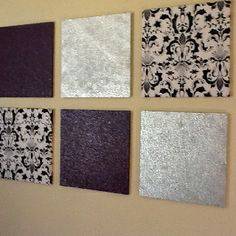 Cork boards for Ashlee's room, silver, purple and fabric.