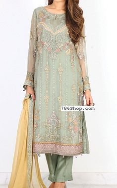 Pistachio Chiffon Suit | Buy Baroque Dresses