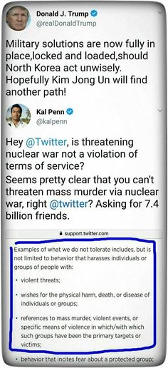 Twitter needs to apply the rules and ban Donald Trump for threatening violence!