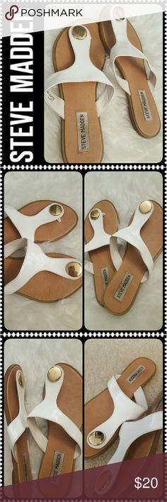 Steve Madden Flip Flops Steve Madden White Slip Ons Flip Flops Style in White, Gold Tone Metal Accent, Worn in Good Condition Steve Madden Shoes