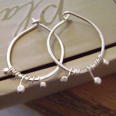 Tiny Sprouts Hoops, sterling silver, vine, nature, hoop, fine silver, dainty, feminine, gift for her, rustic, natural, handcrafted, handmade on Etsy, $22.00