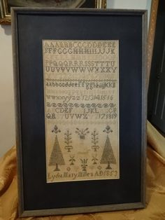 Antique Signed Dated 1853 English Alpha Sampler.  To be charted down the road now that we've purchased this.
