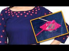 mirror work embroidery designs | mirror work on kurtis | embroidery stitches | #diy | #174 - YouTube Silk Thread Necklace, Silk Thread Bangles, Thread Jewellery, Aari Embroidery, Embroidery Works, Hand Embroidery Stitches, Latest Blouse Neck Designs, Dress Neck Designs, Blouse Designs