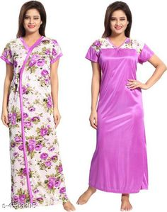Nightdress New Eva Stylish Satin Women Nightdres Fabric: Satin Sleeve Length: Short Sleeves Pattern: Printed Add on: Robe Multipack: 1 Sizes: Free Size (Bust Size: Up To 32 in To 44 in Length Size: 52 in) Country of Origin: India Sizes Available: Free Size   Catalog Rating: ★3.9 (487)  Catalog Name: Divine Alluring Women Nightdresses CatalogID_654063 C76-SC1044 Code: 413-4523305-