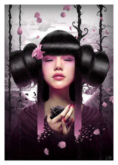 Shades of Lavender and Pink Color  Schemed Geisha Picture