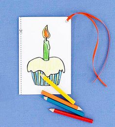 This earth-friendly card can multitask with the front flap doubling as a gift card. Mail with mini colored pencils and attach a ribbon to the corner