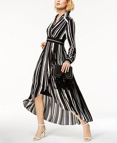 9ec125c324 I.N.C. Striped Faux-Wrap High-Low Dress