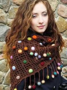 """Chocolate drops"" (crochet shawl, wrap, filet lace, wool shawl, crochet drops)"