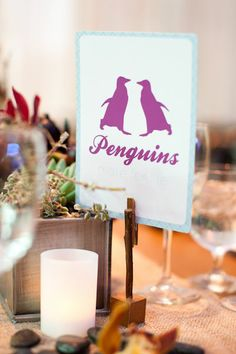 Animal table names! C Call to dinner by character - chimney sweeps, kites erc. Wedding Table Names, Wedding Favors, Wedding Decorations, Indian Beach Wedding, Unique Table Numbers, Penguin Baby Showers, Bridal Table, October Wedding, Forest Wedding