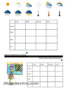 Météo - Jeu fiche d'exercices - Fiches pédagogiques gratuites FLE French Resources, Geography, Worksheets, Language, Classroom, Teacher, Printables, The Unit, School