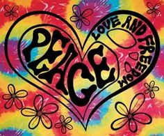 "Peace, Love & Freedom Tapestry tie dye Wall Hanging 40"" x 45"""