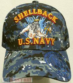 fb92838a2fa Camo blue u.s. navy usn naval shellback crossing the line team insignia cap  hat