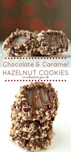 Looks fancy, but comes together very easily. These chocolate hazelnut caramel treasures will be the hit of the cookie tray! Hazelnut Cookies, Chocolate Hazelnut, Chocolate Cookies, Chocolate Caramels, Hazelnut Tree, Caramel Cookies, Chocolate Cheesecake, Candy Recipes, Sweet Recipes