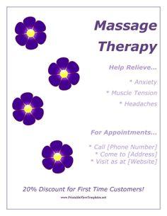 flyer for massage therapy Massage Business, Massage Room, Massage Therapy, Massage Marketing, Tension Headache, Thai Massage, Massage Benefits, Good Mental Health, Muscle Tension