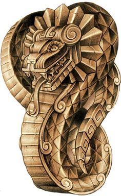 Quetzalcoatl the feathered serpent Aztec Tattoo Designs, Aztec Designs, Cholo Art, Chicano Art, Quetzalcoatl Tattoo, Aztec Drawing, Mayan Tattoos, Aztec Symbols, Feathered Serpent