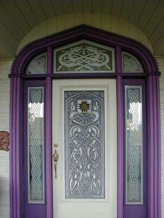 Door of the Gate Keeper's Castle at Troll Haven, in Gardiner, Washington.