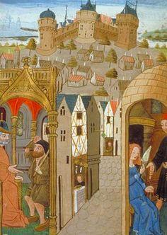 Labor in the city, Aristotle's Ethics, Politics, and Economics (BNF Fr. 22500, fol. 2), 15th century BnF - Dossier pédagogique - L'enfance au Moyen Âge
