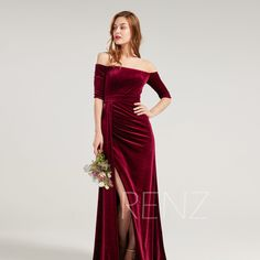 Bridesmaid Dress Burgundy Velvet Formal Dress Half Sleeves Straight Across Neckline Party Dress Long Slit Fitted Evening Dress (HV961) Velvet Bridesmaid Dresses, Prom Party Dresses, Evening Dresses, Formal Dresses, Half Sleeve Dresses, Half Sleeves, Wine Dress, Illusion Dress, Pretty Outfits