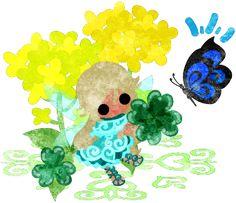 春のフリーのイラスト素材可愛い妖精と綺麗な菜の花と蝶とクローバー  Free Illustration of spring Pretty fairy and beautiful brassica and butterfly and clover   http://ift.tt/2mHK8F4