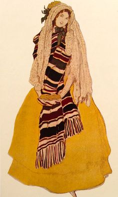 "Leon Bakst. Costume of the girl in yellow. Эскиз костюма девушки в желтом платье. Сезон 1914 года ""Бабочки"" Балет на музыку Роберта Шумана."