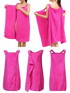 $10.29  Sexy Magical Super Absorbent Fiber Bath Dress Pure Color Bathrobe For Women