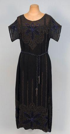 BEADED CHIFFON DRESS, 1920's