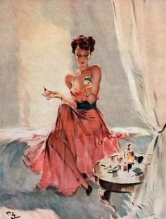 Vintage Pin Up Girl by David Wright, 1940 Pin Ups Vintage, Vintage Art, Vintage Paintings, Pin Up Girls, 1940s Pinup, 1950s, Fall Fashion Week, Pin Up Makeup, Pulp