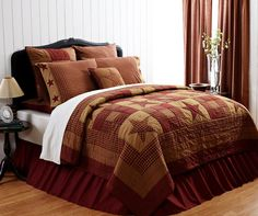 Style: Primitive/Rustic. The simpler life is displayed in rustic plaid prints in a star and nine patch motif. Burgundy red and tan large blocks alternate with stars and quilted squares.
