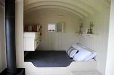 The Rolling Downs Shepherd Hut East Sussex - Teardrop Style sleeping nook   -  To connect with us, and our community of people from Australia and around the world, learning how to live large in small places, visit us at www.Facebook.com/TinyHousesAustralia or at www.TinyHousesAustralia.com